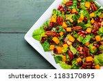 autumn winter season salad with ... | Shutterstock . vector #1183170895
