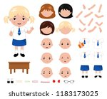 adorable little school girl... | Shutterstock .eps vector #1183173025