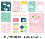 beautiful swans baby shower... | Shutterstock .eps vector #1183181242