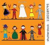 happy halloween. funny little...   Shutterstock .eps vector #1183189795