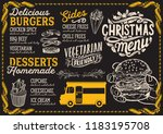 christmas menu for food truck... | Shutterstock .eps vector #1183195708