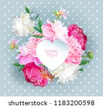 a picturesque peony flower.... | Shutterstock .eps vector #1183200598