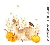 watercolor autumn deer. hand... | Shutterstock . vector #1183203838