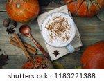 pumpkin spice latte or coffee... | Shutterstock . vector #1183221388