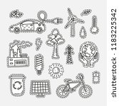 set of doodle uncolored ecology ... | Shutterstock .eps vector #1183225342