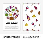 card templates with doodle... | Shutterstock .eps vector #1183225345