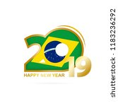 year 2019 with brazil flag... | Shutterstock .eps vector #1183236292