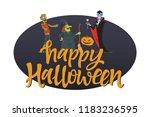 happy halloween poster   modern ... | Shutterstock .eps vector #1183236595