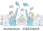 graduating students   colorful... | Shutterstock .eps vector #1183236625