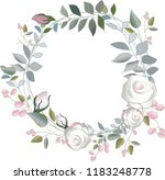 round frame of lines of leaves... | Shutterstock .eps vector #1183248778
