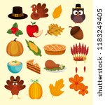 happy thanks giving set icons | Shutterstock .eps vector #1183249405