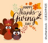 thanks giving card with turkey... | Shutterstock .eps vector #1183249435