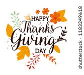 happy thanks giving card with... | Shutterstock .eps vector #1183249618