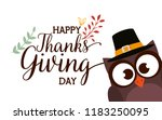 happy thanks giving card with... | Shutterstock .eps vector #1183250095