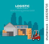 logistic services with forklift ... | Shutterstock .eps vector #1183258735