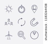 outline 9 blue icon set. power  ... | Shutterstock .eps vector #1183264438