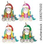 vector cute  unicorn cartoons... | Shutterstock .eps vector #1183270102