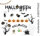 halloween elements. happy... | Shutterstock .eps vector #1183270162