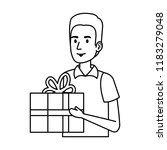 delivery worker with gift... | Shutterstock .eps vector #1183279048