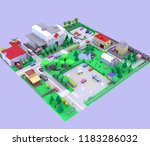 illustration city low poly  3d... | Shutterstock . vector #1183286032