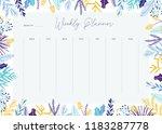 cute vector weekly planner... | Shutterstock .eps vector #1183287778
