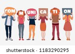 group of young people with... | Shutterstock .eps vector #1183290295