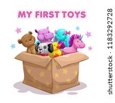 my first toy. funny textile... | Shutterstock .eps vector #1183292728