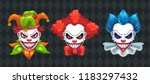 Creepy Clown Faces Set. Spooky...
