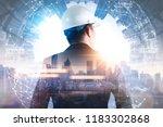 the double exposure image of... | Shutterstock . vector #1183302868