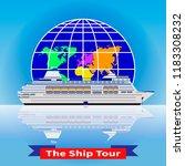 cruise ship tour. white cruise... | Shutterstock .eps vector #1183308232