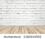 white brick wall and wood floor | Shutterstock . vector #1183314502