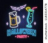 halloween party neon sign.... | Shutterstock .eps vector #1183314778