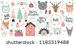 big set of cute animal faces... | Shutterstock .eps vector #1183319488