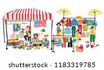 people selling and shopping at... | Shutterstock .eps vector #1183319785