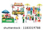 people selling and shopping at... | Shutterstock .eps vector #1183319788
