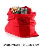 santa claus bag full of gifts... | Shutterstock . vector #1183321225