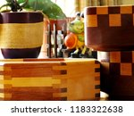 hand crafted wood bowls of... | Shutterstock . vector #1183322638
