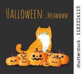 happy halloween. orange cat... | Shutterstock .eps vector #1183326115
