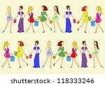 set of silhouettes of girls... | Shutterstock .eps vector #118333246