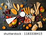 appetizers table with italian... | Shutterstock . vector #1183338415