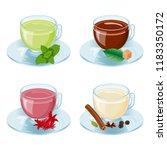 set with cups of tea  green ...   Shutterstock .eps vector #1183350172