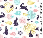 seamless pattern with rabbits ...   Shutterstock .eps vector #1183355065