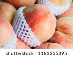 close up fresh ripe peaches for ... | Shutterstock . vector #1183355395