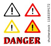 set attention danger signal... | Shutterstock .eps vector #1183359172
