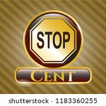 gold badge with stop icon and... | Shutterstock .eps vector #1183360255