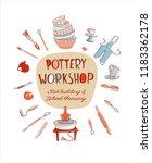 clay pottery workshop studio... | Shutterstock .eps vector #1183362178