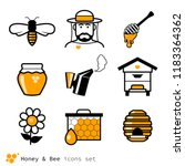 beekeeping   honey icons set | Shutterstock .eps vector #1183364362