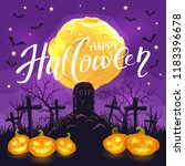halloween background with jack... | Shutterstock .eps vector #1183396678