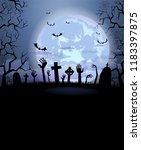halloween background for a... | Shutterstock .eps vector #1183397875