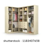 wardrobe. open closet with... | Shutterstock . vector #1183407658